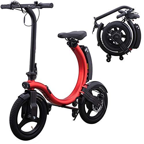 CuiCui Patinete Eléctrico Plegable con Neumáticos de 14'para Adultos con Motor de 250 W hasta 25 km/h Portátil para Adultos para Desplazamientos y Viajes Mini Cilíndrico Plegable