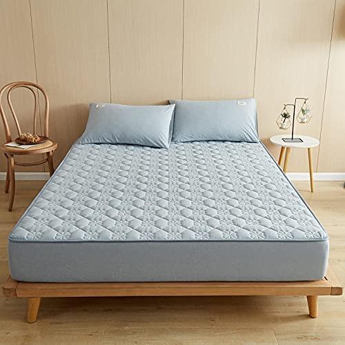 Zachte, verkoelende, ademende onderplaten,Katoenen dikke hoeslakens, antislipmat-beschermingskussen voor slaapkamer appartement Hotel-blue_180cmx220cm