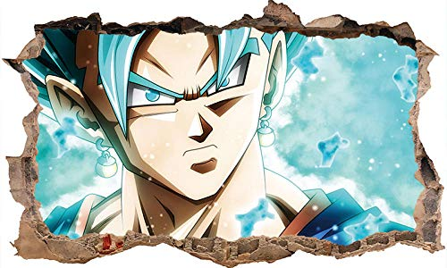 Effekt Wandtattoo- Anime 3D Dragon Ball Cartoon Wandaufkleber Super Saiyan Goku Aufkleber PVC Aufkleber Für Schlafzimmer Tapete Wandbild Dragon Ball 80 * 120 cm-A_60*90CM