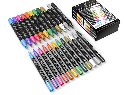24 Metallic Acrylic Paint Pens Markers Set 0.7mm Extra Fine And 3.0mm Medium Tip Combo For Rocks, Glass, Mugs, Most Surfaces. Non Toxic