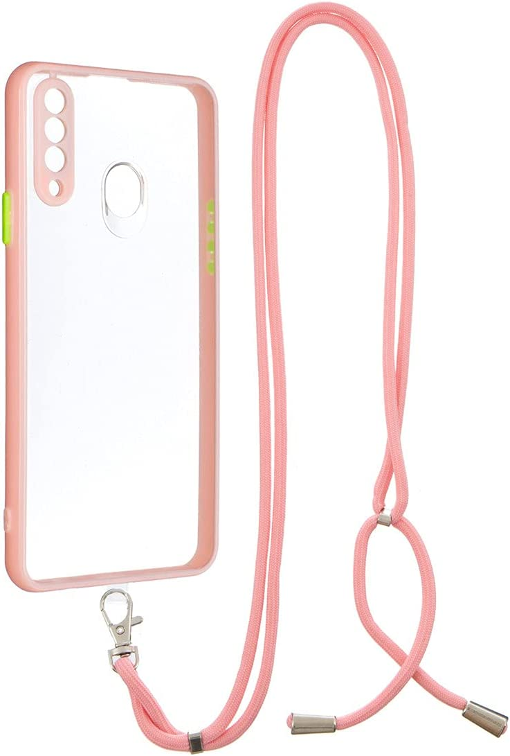 Galaxy A20s Case, Gift_Source Crossbody Lanyard Case Slim Shockproof Soft TPU Bumper Protection & Crystal Clear Hard PC Back Cover with Detachable Neck Strap for Samsung Galaxy A20s (6.5