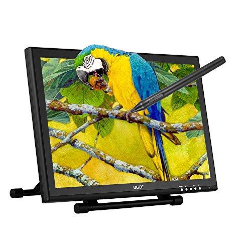 "Ugee 19"" 1080P HD Monitor de Tablet Gráfica 100 V ~ 240 V, 2 Bolígrafos Digitales | 220rps | 4000LPI 2048 Niveles Sensibilidad de Presión | Soporte Ajustable"