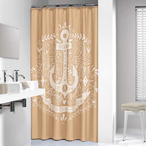 Sealskin Textil Duschvorhang Anchor, Farbe: Sand, B x H: 180 x 200 cm