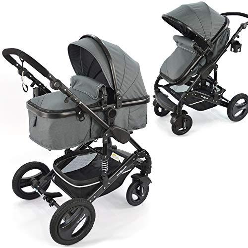 Daliya Bambimo 2in1 Kinderwagen - Kombikinderwagen 9-Teiliges Set incl. Babywanne & Sportsitz/Buggy - 1-Klick-System/Alu-Rahmen/Voll-Gummireifen/Sonnenschutz/Getränkehalter in Dunkel-Grau
