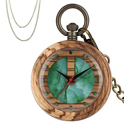 YJRIC Reloj de Madera Reloj de Bolsillo de Madera de Cuarzo con Pantalla Verde de Piedras Preciosas, Caja de Reloj de Madera marrón, Collar de Bronce, Cadena de Bolsillo Colgante para Hombres y muje