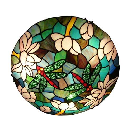 Tiffany Retro Deckenleuchte Vintage Deckenlampe Kreativ Bar Wohnzimmer Schlafzimmer Esszimmer Studie Deckenbeleuchtung Gute Qualität Glas Metall Dekorativer Innenbeleuchtung 2*E27 D30cm*H10cm Max.40W