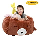 Bear Stuffed Animal Storage Bean Bag Chair Cover 24x24 Inch Velvet Extra Soft Plush Organization Replace Mesh Toy Hammock for Kids Toys Blankets Towels Clothes Household Supplies Brown