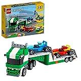 LEGO31113Creator3 en 1TransportedeCochesdeCarreras, SetdeConstrucciónconCamióndeJugueteconRemolque,GrúayRemolcador