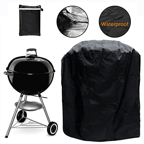 Grill Cover, Kettle Style Barbecue Grill Cover Waterproof Outdoor Round Grill Cover with Elastic Strap, Dia 30'x 29'H