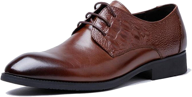 GAIXIA Men's Fashion shoes Leather Lace Wedding Business Dress shoes Dress shoes 39-43 Yards Men's Leather Boots (color   Yellow, Size   41 EU)