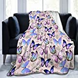 Butterfly Flannel Fleece Bed Blanket Throw Blanket Cozy Air Conditioning Blanket Plush Blanket for Bedroom Living Sofa Car 50'X40'