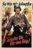Deutscher Soldat Infanterist Wehrmacht 2. Weltkrieg Blechschild Schild Blech Metall Metal Tin Sign 20 x 30 cm FA0164