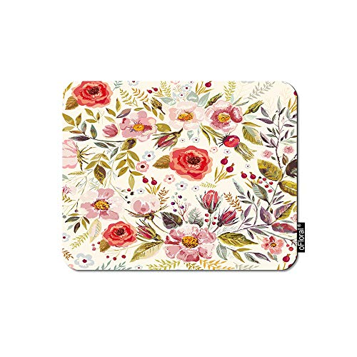 oFloral Pink Flower Gaming Mouse Pad Romantic Floral Paint Garden Red Flowers Leaves Decorative Mousepad Rubber Base Home Decor for Computers Laptop Office Home 7.9X9.5 Inch