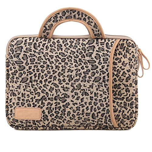 Leopard Print Laptop Notebook MacBook iPad Case Bag Sleeves, 14 Inch Cover Sleeve Bag for MacBook/Laptops/Notebooks/Ultrabooks/Netbooks,Handle Brown