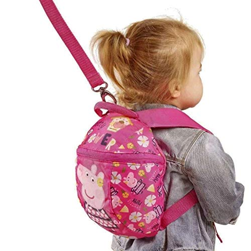 Peppa Pig Backpack with Reins – Toddler Baby Kids Girls Backpack with detachable safety reins for parental control