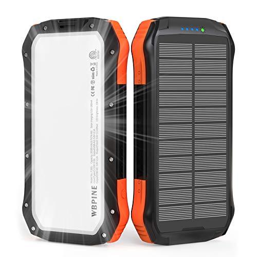 WBPINE Solar Powerbank 20100mAh,Wasserdicht Solar Ladegerät mit LED Licht und Dual 2.1 A-Ausgängen,Tragbares Handy Ladegerät Externer Akku für iPhone Samsung Camping und Outdoor