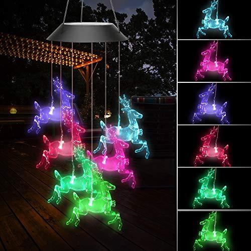 Brynnl Solar Windspiele Lichter, Farbe wechselende LED Solar Hirsch Windspiel leuchten Licht tragbare hängen wasserdichte Outdoor dekorative Licht für Weihnachten Garten Home Party