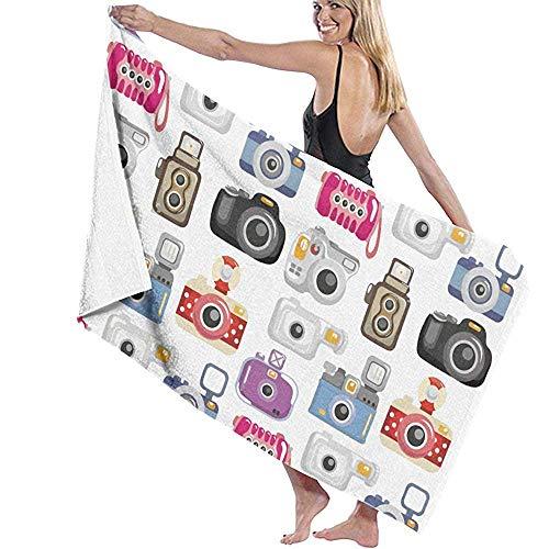 qinzuisp badhanddoek strandhanddoek voor op reis - Quick Dry, Absorbent, Compact. Beste lichtgewicht handdoek voor het zwemmen, sport, strand, douche (Camera patroon) 80X130cm
