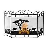 Pantalla de la Chimenea Pantalla de Chimenea de Gas Vintage, Valla de Privacidad de Metal de Estilo Americano, Malla Protectora Contra Chispas, Valla Ignífuga de 3 Paneles de Hierro Forjado, Negro