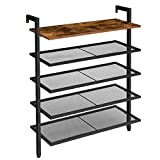 HOOBRO Over the Wall Shoe Rack, 5-Tier Wall Mounted Shoe Rack, Shoe Organizer with 4 Mesh Shelves, Industrial Style, Stable and Durable, for Hallway, Living Room, Entryway BF75XJ01