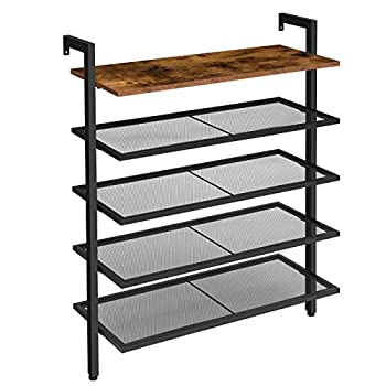HOOBRO Over the Wall Shoe Rack 5-Tier Wall Mounted Shoe Rack Shoe Organizer with 4 Mesh Shelves Industrial Style Stable and Durable for Hallway Living Room Entryway BF75XJ01