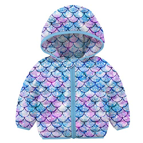 Kids Winter Coat Colorful Fish Scale Girl Boy Down Alternative Jacket Toddler Ultralight Clothing Halloween Christmas Birthday Gift (Mermaid Blue Purple Lavender Violet, 18-24 Months