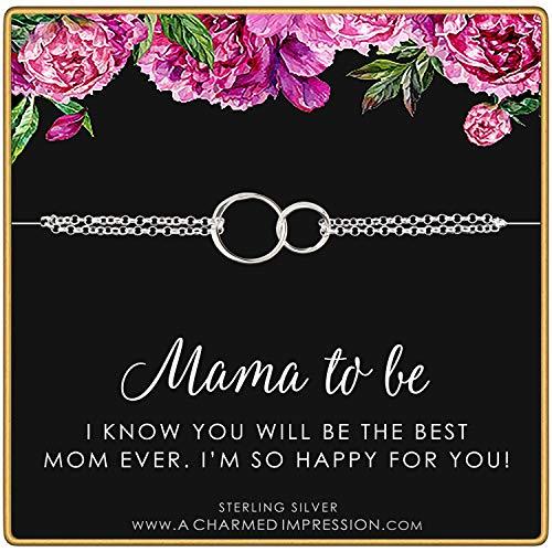 チャームド インプレッション スターリングシルバー ダブルリング ブレスレット - Mama to Be
