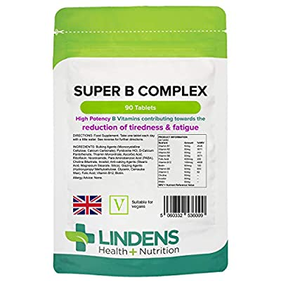 Lindens Super B Complex Vitamin Tablets - 90 Pack - with a Full Spectrum of B Vitamins and Vitamin C - Reduces Tiredness and Fatigue - UK Manufacturer, Letterbox Friendly