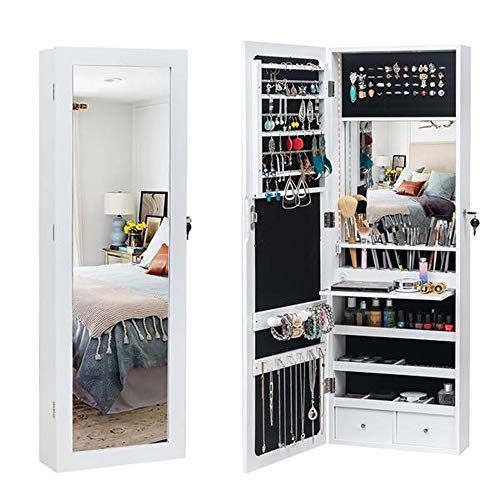 Ghvi LED Wall/Door Mounted Armoire Cabinet With Full Length Mirror, Wooden Wall Hanging 3-Layer Shelf, 2 Drawers, 17 Cosmetic Brush Holders,Jewelry Storage Mirror Cabinet