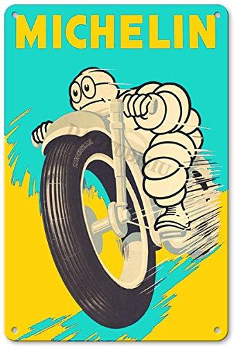 RuFS Michelin Tires Plaque Cartel de Chapa Pared Hierro Retro Pintura Placa...