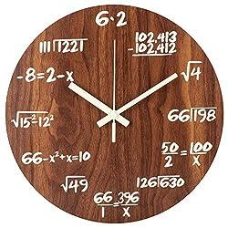 BEW Luminous Wall Clocks, Maths Formula Creative Clocks, Non-Ticking Quartz Clock, 12 Inch Wooden Vintage Decorative for Study, Office, Classroom, Library