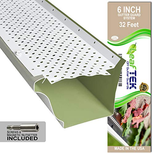 LeafTek 6' x 32' Gutter Guard Leaf Protection in White   DIY Premium Contractor Grade 35 Year...