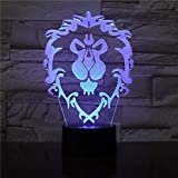 Lampara LED World of Warcraft Alianza Cambia Color USB Luz Nocturna