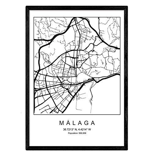 Blad van de stadskaart van Malaga Noordse stijl zwart en wit. Posterframe op A3-formaat Het bedrukte papier Geen 250 gr. Schilderijen, prints en posters voor woonkamer en slaapkamer