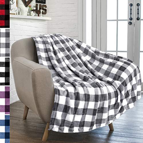 PAVILIA Buffalo Plaid Throw Blanket for Sofa Couch | Soft Flannel Fleece Grey White Checker Plaid Pattern Decorative Throw | Warm Cozy Lightweight Microfiber | 50 x 60 Inches