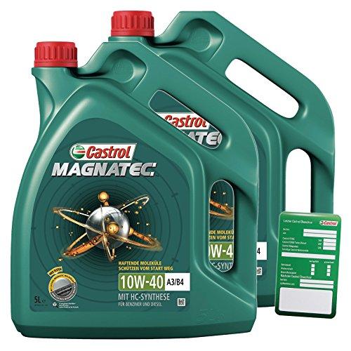2x 5 L = 10 Liter Castrol Magnatec 10W-40 A3/B4 Motor-Öl inkl. Ölwechsel-Anhänger