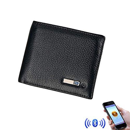 XAJGW Smart Wallet, Geldbörsen Herren Leder, Wallet Finder Smart Tracker GPS Herren, Brieftaschen für Männer (Farbe : SCHWARZ)