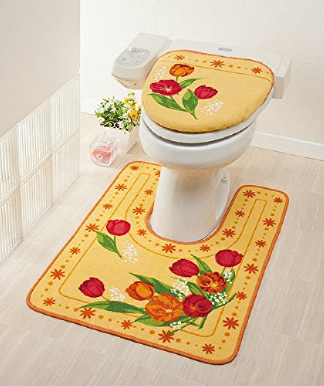 Plan Toh Tortoise Toilet Floor Mat(Long type) TULIP beige & Toilet Lid cover Bathroom TULIP BEIGE