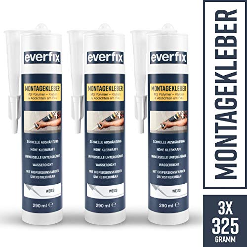 EVERFIX Montagekleber weiss (3 Stück) für innen und außen, extra starker Kraftkleber für Metall, Holz, Fliesen, etc, Baukleber zum Kleben und Abdichten, 325 g / 290 ml