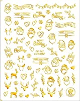 3Dネイルデカールサンタクロースホワイト/ゴールド/レッドバックグルーレーザークリスマスツリーデカールDIYクリスマスデコ (CB-147,Golden)