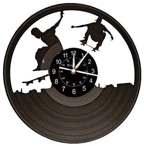 HKOEBST Reloj De Pared Electrónica De Vinilo, Skateboard Skating Topic RECORRY Reloj DE LA Pared, Fan CRATURANTE Hecho A Ventilador DESPUÉS DE LA Pared Decorativa Regalo, 30X30cm