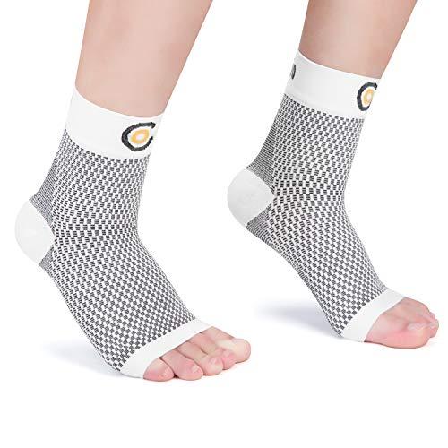 CAMBIVO 2 Paar Sprunggelenkbandage, Knöchelbandage, Fußbandage für Herren und Damen, Plantar Fasciitis Socken gegen Krampfadern, Kompressionssocken für Sport, Fussball, Fitness (Weiß, M)