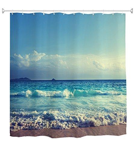 goodbath Ocean Duschvorhang,Meereswellen Blauer Himmel Strand Duschvorhang Wasserdicht & schimmelresistent für Badezimmer,180x18cm, Blau Weiß Braun