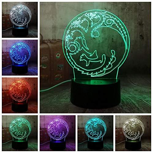 Tagarian Power Game House lied van ijs en vuur acryl 3D RGB nachtlampje USB tafellamp decoratie kerstcadeau