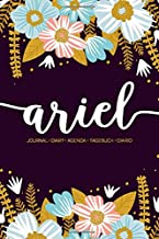 Ariel: Journal   Diary   Agenda   Tagebuch   Diario: 150 pages paginas seiten pagine: Modern Florals First Name Notebook in Rose Pink, Baby Blue & Mustard Yellow on Navy ACH328a