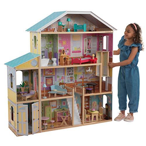 KidKraft 65252 Casa de muñecas de madera Majestic Mansion para muñecas de 30 cm con 34 accesorios incluidos y 4 niveles de juego