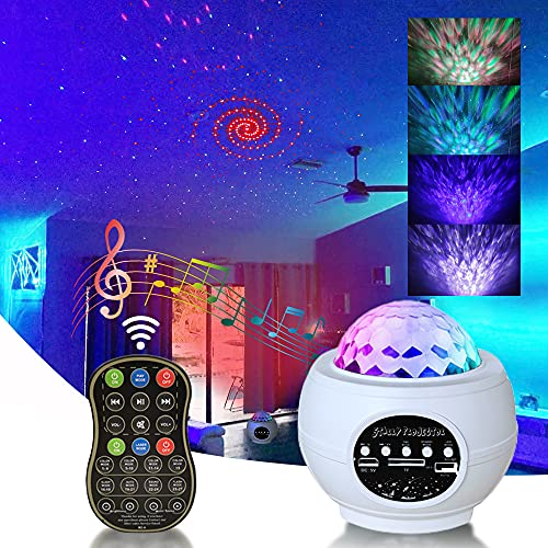 3 in 1 night light projector with ocean wave star projector l-e-d nebula with blue-tooth for bedroom light nebula cloud music-speaker for kids party star projector remote control starry(WHITE)