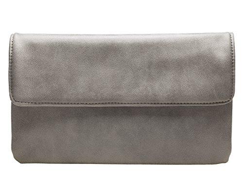 cecilia&bens Elegante Damen Clutch Handtasche | Abendtasche | Schminktasche kleine Tasche 100% Vegan, Farbe:grau