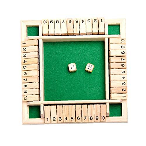 sevenjuly 1 Juego de 4 vías cerró la Caja de Juego de Dados de Madera 4 Números Caras Grandes de Madera Juego de Mesa Juguete Inteligente del Juego para el Aprendizaje, Estrategia y gestión