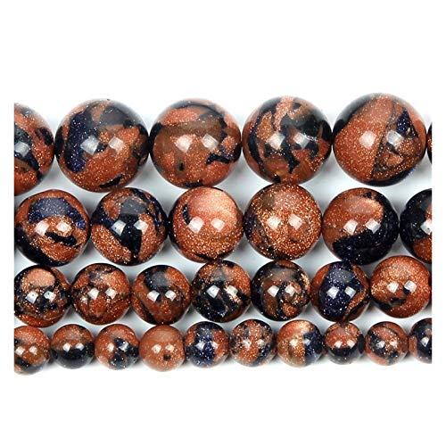 TZZD Charms de Cuentas Piedra Natural Limpie la Arena Mixta Gránulo Charm Redondo Perlas Sueltas para la joyería Haciendo la Pulsera de Costura DIY Strand 4-12 mm